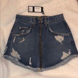 NWT Carmar distressed denim zip skirt